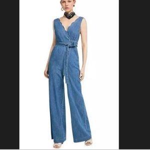Anthropologie Pilcro Jean scalloped jumpsuit